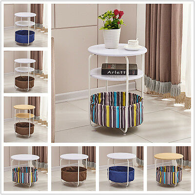2,3 Tier Livingroom Coffee Table Side End Lamp Table with Canvas Storage Basket