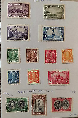 Set of 14 Canada Stamps inc. 1 Dollar 1935-1939 Mint
