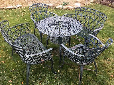 Vintage Style Cast Metal Garden Patio Table benches And Chair Set