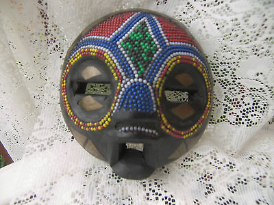 Vintage Handcrafted Arfican Mask With Bead Work