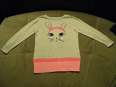 Superbe Pull Gris Long A Motif Lapin Fille C&a Taille 8 Ans