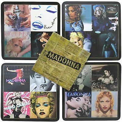 Madonna Drinks Coaster Set 4 Retro Pictures Album Covers Vogue Mug Gift Official