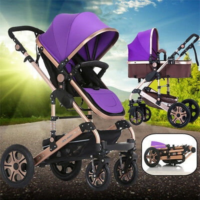 Aluminium Baby Carriage fold Travel Stroller Portable Pushchair 4 In1Pram System