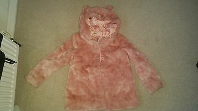 H & M girls pink furry coat....hardly worn...age 7-8. ...cute