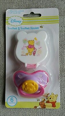 DISNEY Orthodontic Winnie The Pooh Soother & Soother Holder, Dummy & Dummy Clip