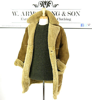 Men's Brown REAL SHEEPSKIN LEATHER Shearling 70s MOD BOHO Indie Chunky Coat UK S
