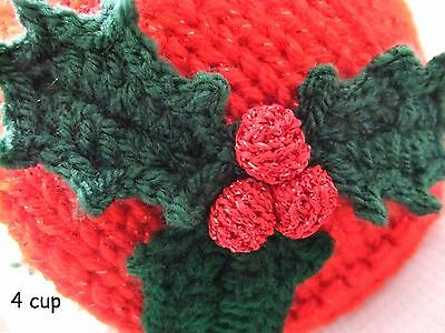 Hand-knitted 4 cup Sparkly Christmas Holly Tea Cosy