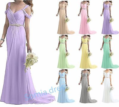 Long Formal Beaded Chiffon Ball Evening Party Bridesmaid Cocktail Prom Dresses