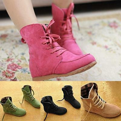 Women Suede Leather Lace-Up Flat Ankle Boot Autumn Snow Motorcycle Boots US