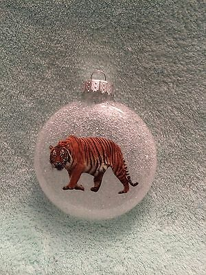 Tiger Holiday Christmas Glass Disc Ornament