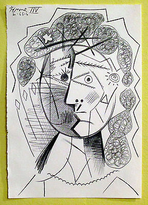 Cubist Portrait of Woman - Drawing, Picasso Style/Era - Signed, Abstract Cubism
