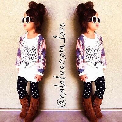 Girls Long Sleeve Floral Sweater Top Coat+Pants Kids Set Outfits Clothes 2-7Y