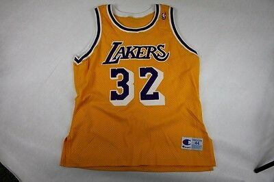 bb2466198e5 80s 90s Authentic Champion Los Angeles Lakers Magic Johnson Signed NBA  Jersey 44
