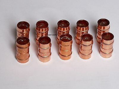 15mm Straight Connector Solder Ring Copper Pipe Fitting - Pack of 10,Plumbing