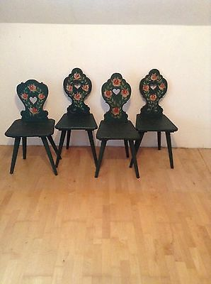 Beautiful Hand Painted Rustic Farm House Alpine Chairs Set Of 3