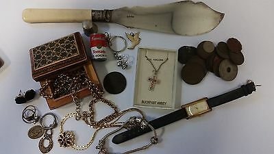 joblot of old junk drawer items,old coins old jewellery etc