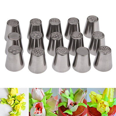 15x Icing Nozzle Russian Tulip Flower Piping Tips Set Cake Baking Stainless Tool