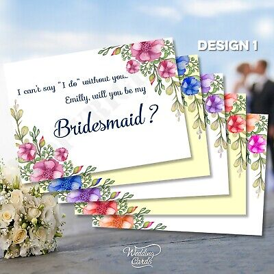Will you be my Bridesmaid Maid of honour Invitation Invite Card Personalised