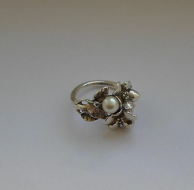 Danish Trollbeads Silver 925s Women's Ring Hawthorn With Freshwater Pearl
