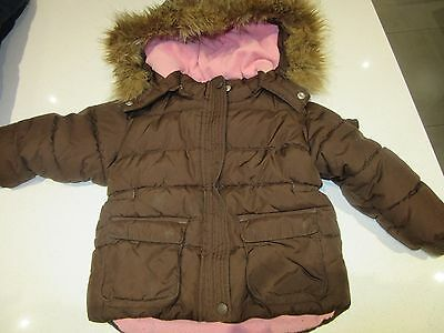 Gorgeous Girls Gap Quilted Puffa Jacket Brown with pink fleece lining Age 3