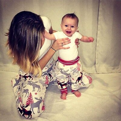 Christmas Family Matching Reindeer Trousers Women kids Baby Legging Casual Pants