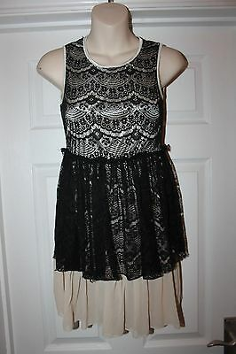 Ladies Black Lace Evening Dress Size 8 Nude Underslip