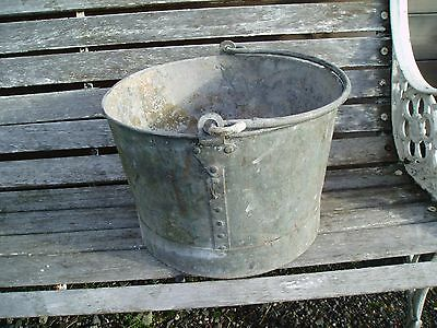 Vintage Galvanized Riveted Bucket    Home Garden Display