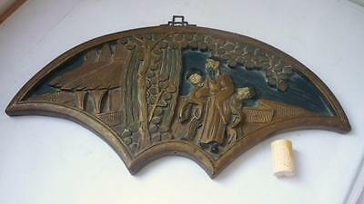 Chinese wood hand carved scene wall plaque 19th century