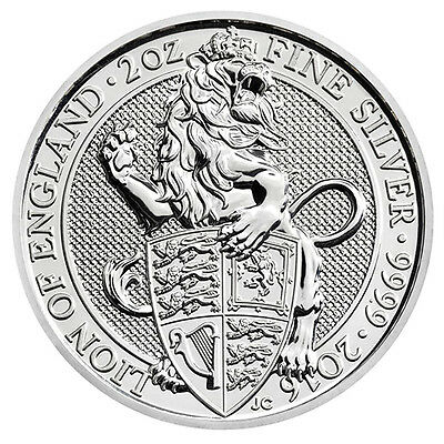 2oz Silver Bullion Coin – 2016 Queens Beasts – Lion – Royal Mint UK