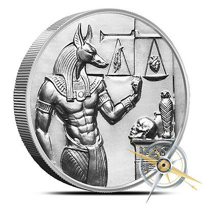 Elemetal Mint Anubis Silver Round – 2Oz Pure Silver Bullion – Ultra High Relief