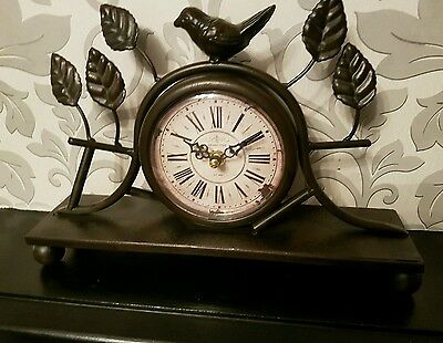 Mantle Clock Bird Foliage aged  reprduction timepeice focal point shabby chic