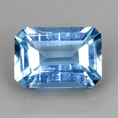0.85 Ct Ice-Blue 100% Natural Santa Maria Aquamarine Emerald Cut Loose Gemstones