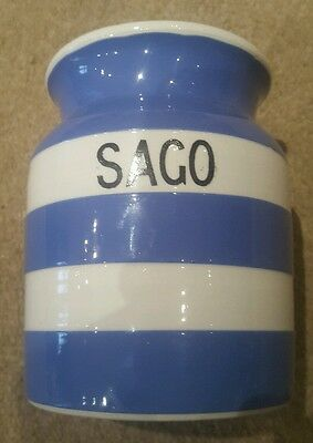 Vintage T.G Green Cornishware Blue Sago Canister-NO Lid-Early Church Makers Mark