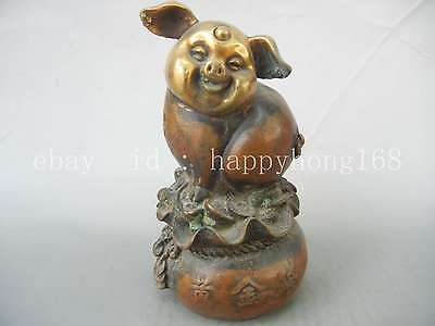 Chinese Handmade Exquisite Lovely Pig wealth sack Bronze Statue