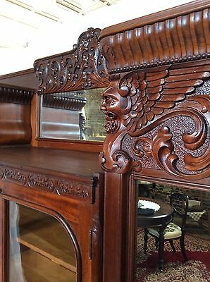 Antique Lg Victorian Carved In The Manner of RJ Horner Armoire Wardrobe Closet