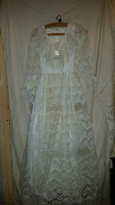 Vintage Retro ? Ladies  Long Sleeved Lacy Wedding /bridesmaid Dress 26 Chest