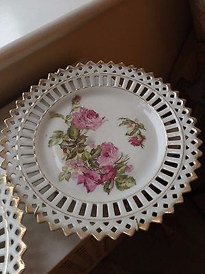 8.5 Inch Victorian Ribbon Plate Fine Porcelain