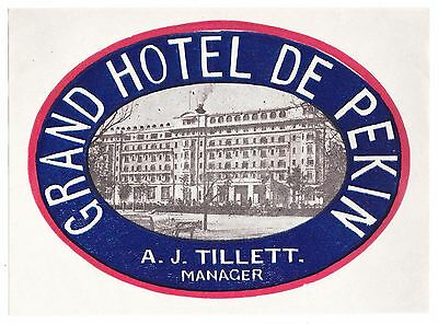 Grand Hotel de Pekin PEKING China luggage label Kofferaufkleber  --  OLD