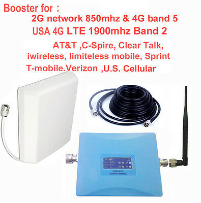 USA 4G LTE booster 850mhz+1900mhz AT&T Sprint Verizon Tmobile 4G signal repeater