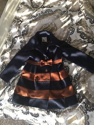 Next Girls Coat Bow Detail 5-6 Years Navy And Tan Brown Great Used Condition