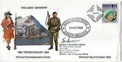 Falklands commemorative postal cover 300 years of Light Infantry,signed by Major