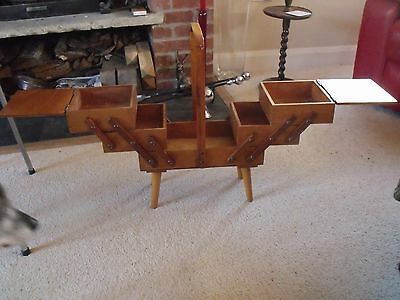 Vintage Cantilever Craft Sewing Box On Stand