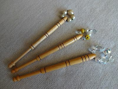 Three Nicely Turned Wood Lace Maker's Bobbins With Pretty Spangles