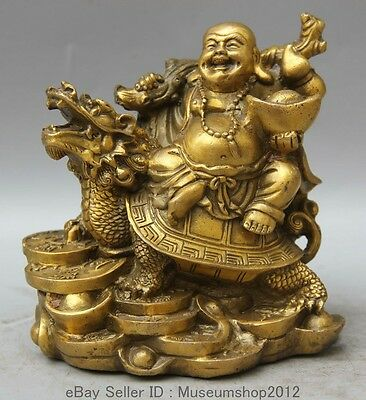 Chinese Buddhism Brass Happy Laugh Maitreya Buddha ride dragon turtle statue