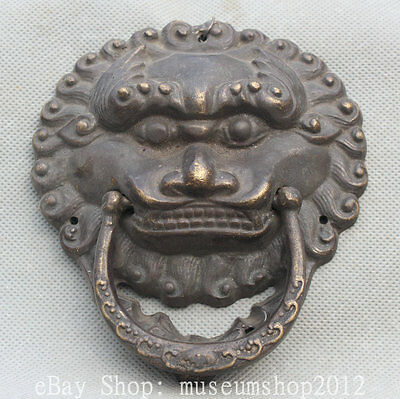Old China Chinese Fengshui Bronze Lion Foo Dog Beast Head Statue Door Knocker