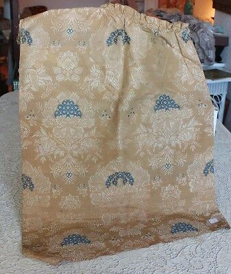 "French Antique 18thC (c1780) Silk Brocaded Lampas Textile Fabric~34""L X 20""W"