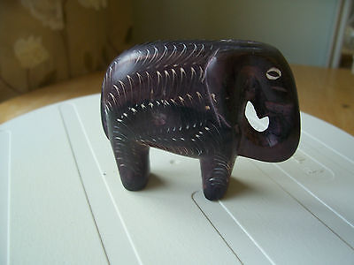 Elephant Handcarved And Signed Natural Stone Africa Exc.from Collection