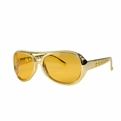Novelty Gold / Orange Elvis Style Aviator Fancy Dress Glasses