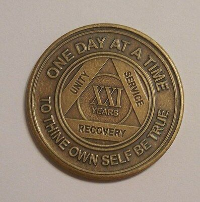 aa new bronze alcoholics anonymous 21 year sobriety chip coin token medallion