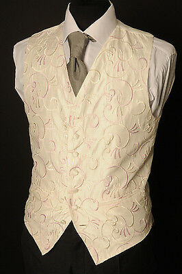 W - 1105.mens And Boys Ivory And Baby Pink Wedding Waistcoat/ Dress/ Formal
